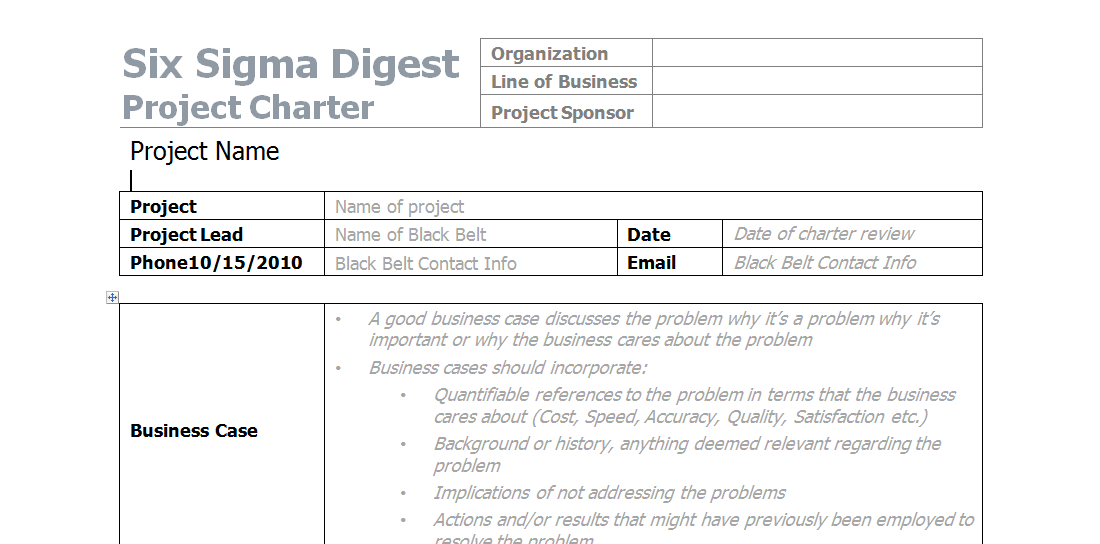 Project Charter Sample In Word