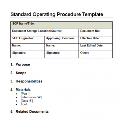free procedure template word .
