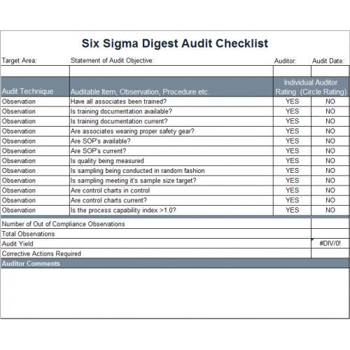 Six Sigma Digest  Audit Forms Templates